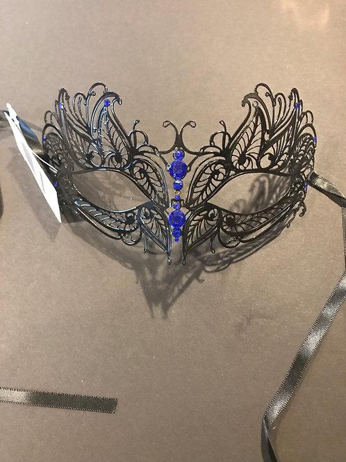 Black Laser Cut Metal Mask/blue