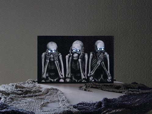 Hear/Speak/See No Evil Light Up Skulls Canvas