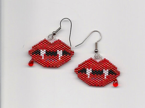 Hand Beaded Vampire Teeth Earrings