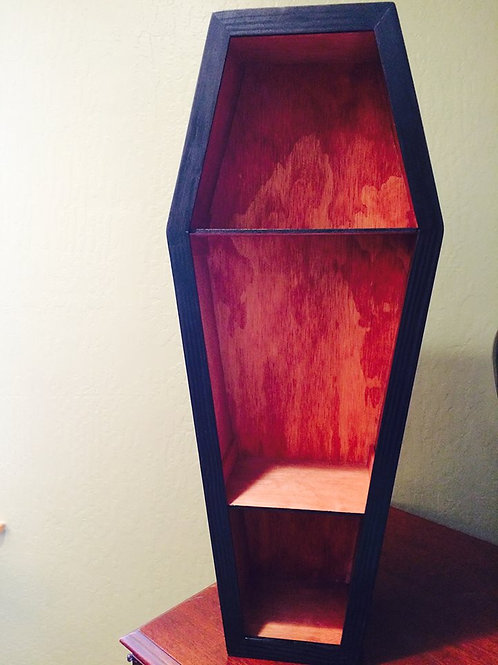 "30"" Coffin with Cherry Stain/Shelves"