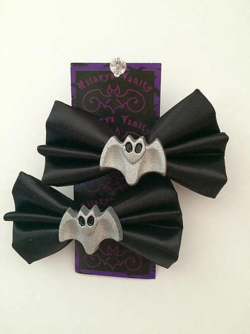 Large Black Bow with Silver Bat.