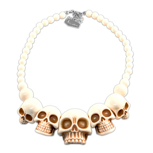 Bone Colored Skull Necklace