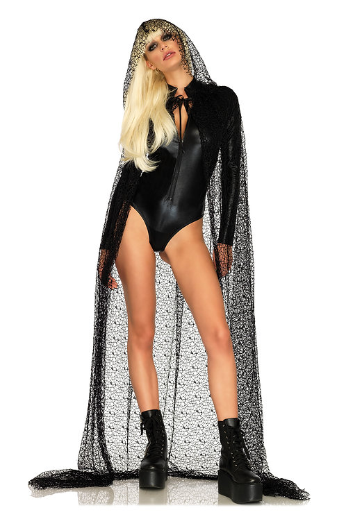 Web Lace Hooded Cape