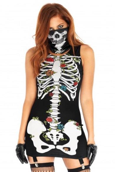 2 Piece Skeleton Garter Dress and Mask