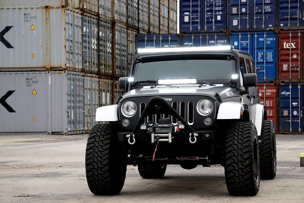 Jeep matte black car wrap Miami