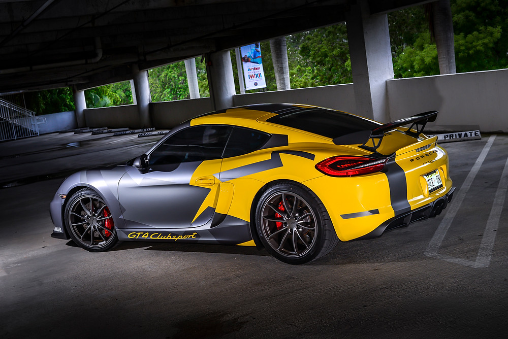 Porsche GT4 wrapped Miami FCA