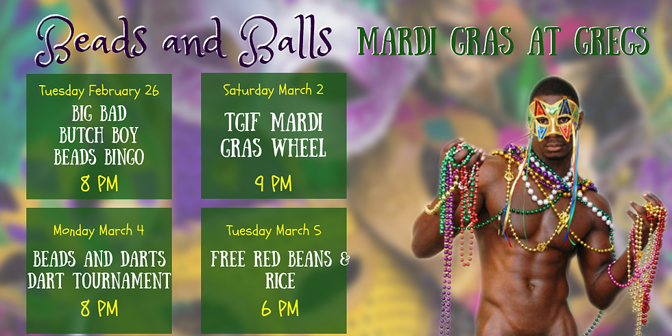 Beads and Balls - Mardi Gras at GREGS