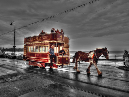 Horse and Tram on Douglas Promenade, on the Isle of Man
