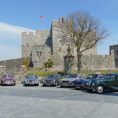 Vintage Cars in front of Castlerushen in Castletown, on the Isle of Man