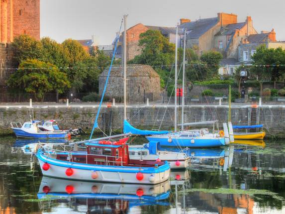 Boats in the harbour of Castletown, on the Isle of Man