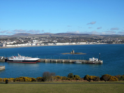 Picture taken from Douglas Head. Showing the Tower of Refuge and the Steam Packet Companies landing port for its ferry service to and from the Isle of Man