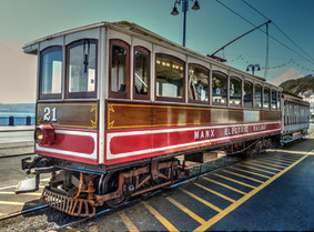 Manx Electric Tram at its depot, on the Isle of Man