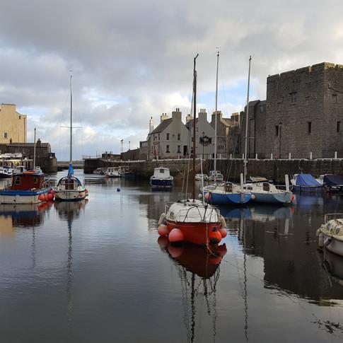 Overlooking Castletown Harbour, with Castle Rushen in background.