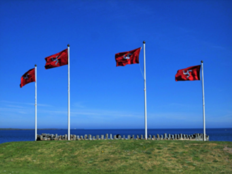 Isle of Man Flag on the coast of Port St Mary, Isle of Man