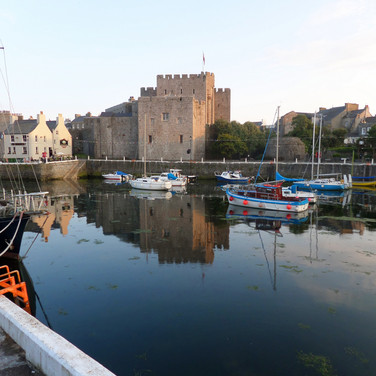 Overlooking Castletown Harbour, with Castle Rushen in background.