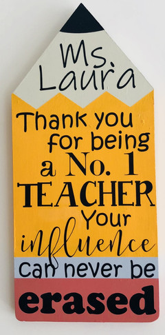 This wooden pencil sign is approximately 12 x 5.  Size, colors, and quote can all be changed.  $15