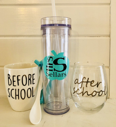 Drinkware set - These can each be purchased separately or together.  Coffee mug and wine glass are dishwasher safe.  Water tumbler must be washed by hand.  Get creative!  These can be personalized in so many ways.  Buy individually or as a set for $20