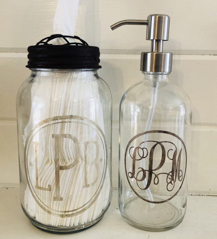 Germ Stopper Set - These glass jars can be monogramed or personalized however you like.  Tissues and hand sanitizer are included. Buy Individually or as a set for $25