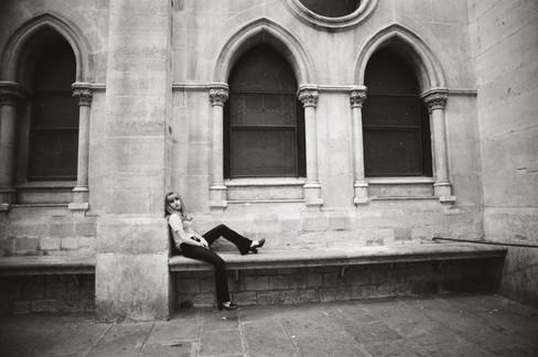 Adèle on the Chirch's Porch b&w