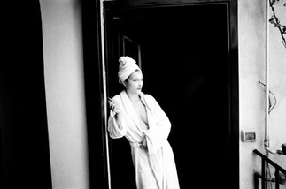 Young Woman with Cigarette after Shower