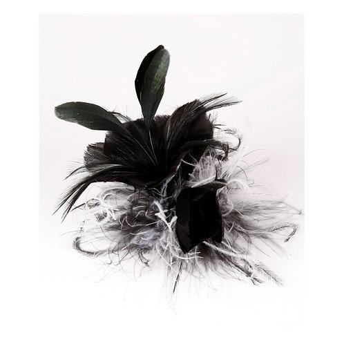 Black And White Feather Flower Clip