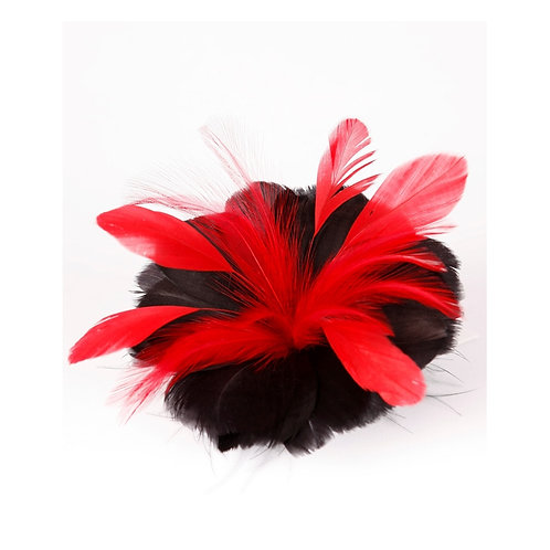 Red And Black Designer Feather Flower