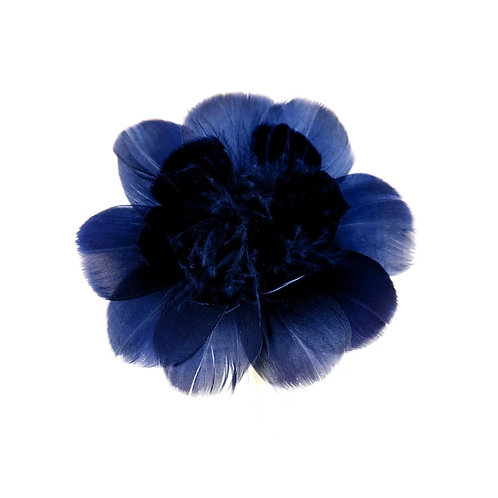 Navy Blue Feather Flower
