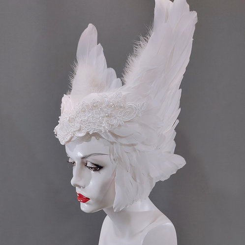 Valkyrie Inspired Feather Headdress - Goose