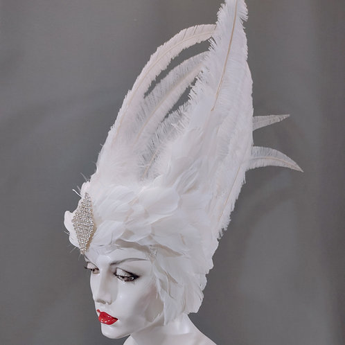Valkyrie Inspired Feather Headdress - Goose with Ostrich