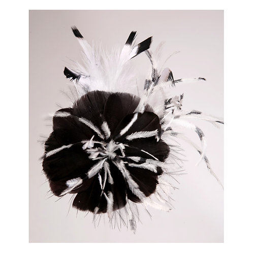 Black Feather Flower With A Hint Black/White Ostrich