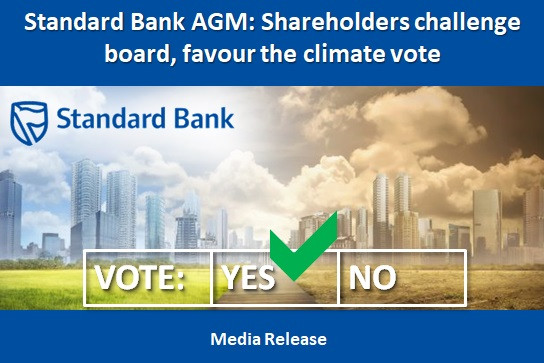 Standard Bank AGM: Shareholders challenge board, favour the climate vote