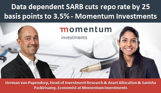 Data dependent SARB cuts repo rate by 25 basis points to 3.5% - Momentum Investments