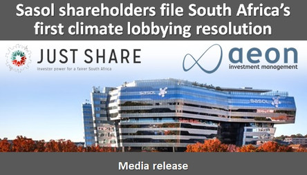 Sasol shareholders file South Africa's first climate lobbying resolution