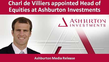 Charl de Villiers appointed Head of Equities at Ashburton Investments