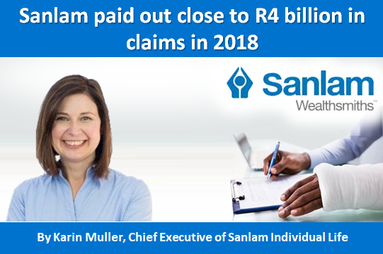 Sanlam paid out close to R4 billion in claims in 2018