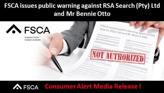 FSCA issues public warning against RSA Search (Pty) Ltd and Mr Bennie Otto