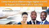 Consumer price inflation edges higher to 4.9% in August 2021 from 4.6% in July 2021
