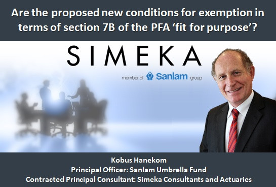 Are the proposed new conditions for exemption in terms of section 7B of the PFA 'fit for purpose'?
