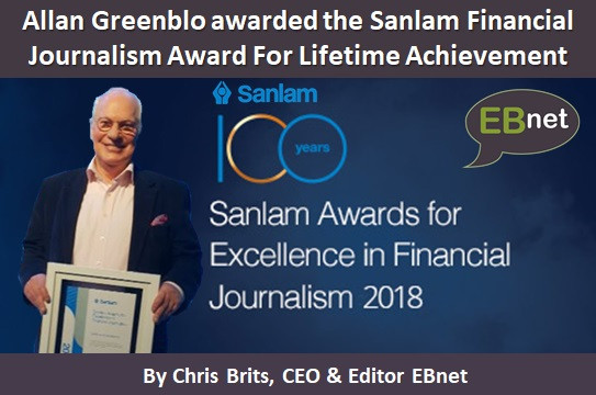 Allan Greenblo awarded the Sanlam Financial Journalism Award For Lifetime Achievement