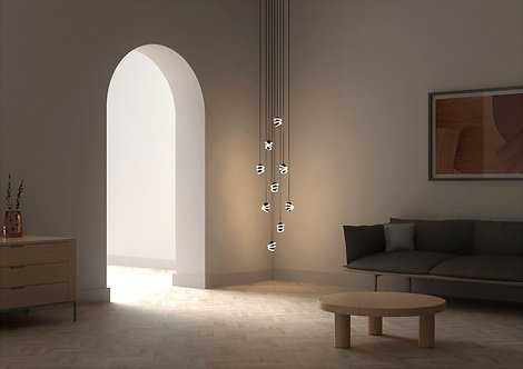 Curli drop chandelier