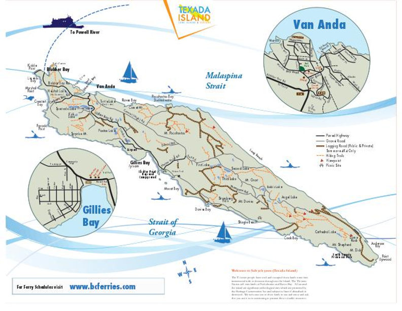 BC Ferries Map to Texada