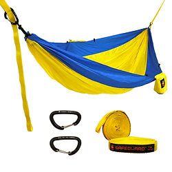 Double Nylon Parachute Hammock with Free Tree Straps and Aluminum Wire Gate Carabiners