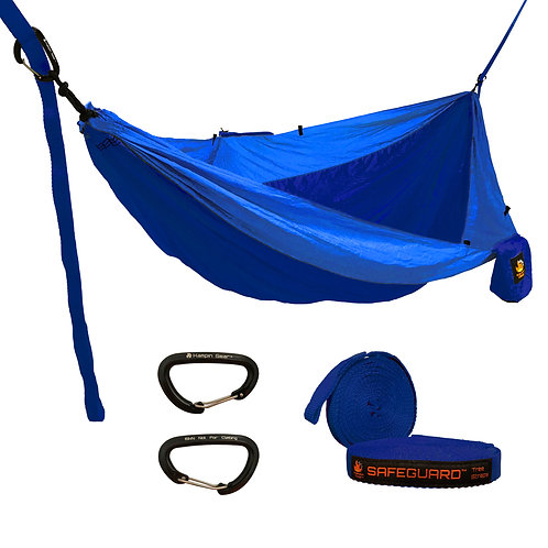 HANGEASY DOUBLE HAMMOCK NAVY BODY/ROYAL SIDES WITH SAFEGUARD TREE STRAPS