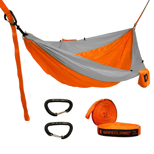 HANGEASY DOUBLE HAMMOCK ORANGE BODY/GREY SIDES WITH SAFEGUARD TREE STRAPS
