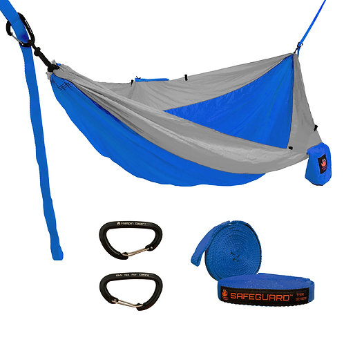 HANGEASY DOUBLE HAMMOCK ROYAL BODY/GREY SIDES WITH SAFEGUARD TREE STRAPS