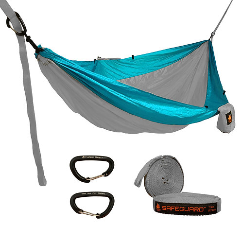 HANGEASY DOUBLE HAMMOCK GREY BODY/AQUA SIDES WITH SAFEGUARD TREE STRAPS