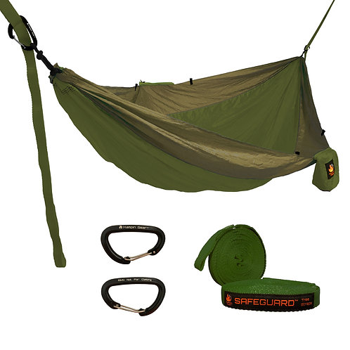 HANGEASY DOUBLE HAMMOCK OLIVE BODY/KHAKI SIDES WITH SAFEGUARD TREE STRAPS
