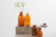 Lej vintage brune flasker hos tablesetting serviceudlening
