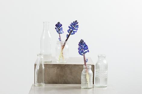Lej Glasflasker til blomster og pynt hos tablesetting serviceudlejning