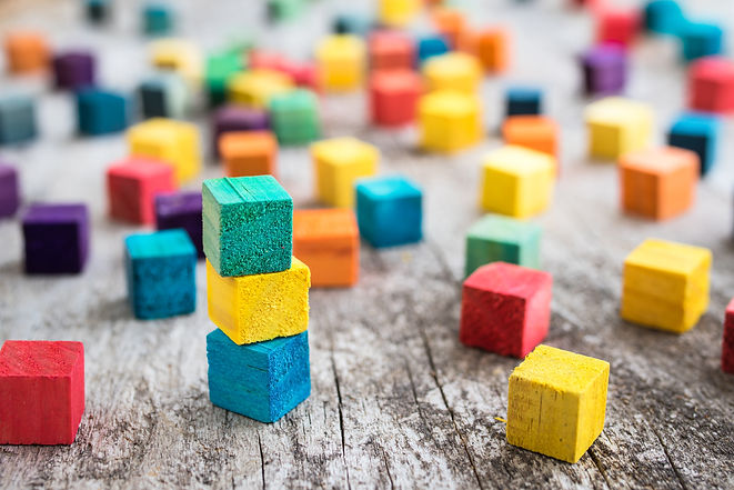 Colorful wooden building blocks. Selecti